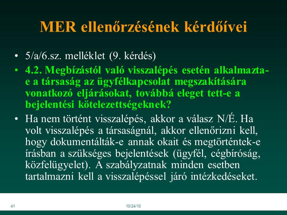 4110/24/10 MER ellenőrzésének kérdőívei 5/a/6.sz. melléklet (9.