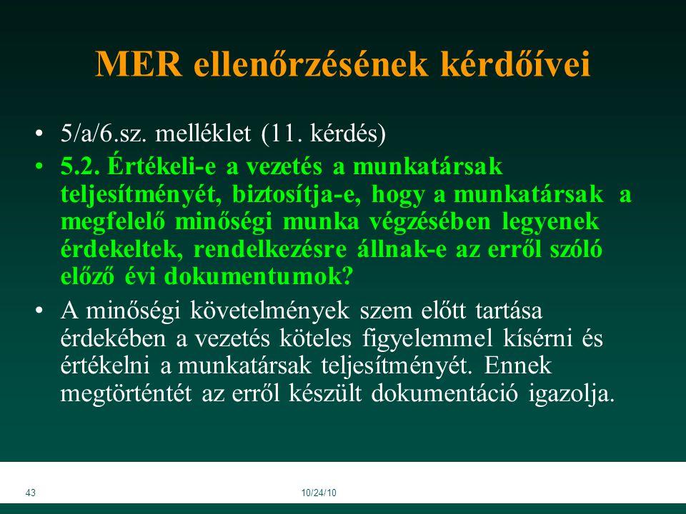4310/24/10 MER ellenőrzésének kérdőívei 5/a/6.sz. melléklet (11.