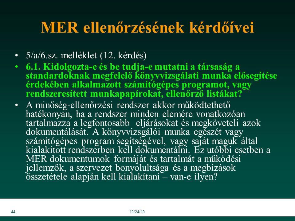 4410/24/10 MER ellenőrzésének kérdőívei 5/a/6.sz. melléklet (12.