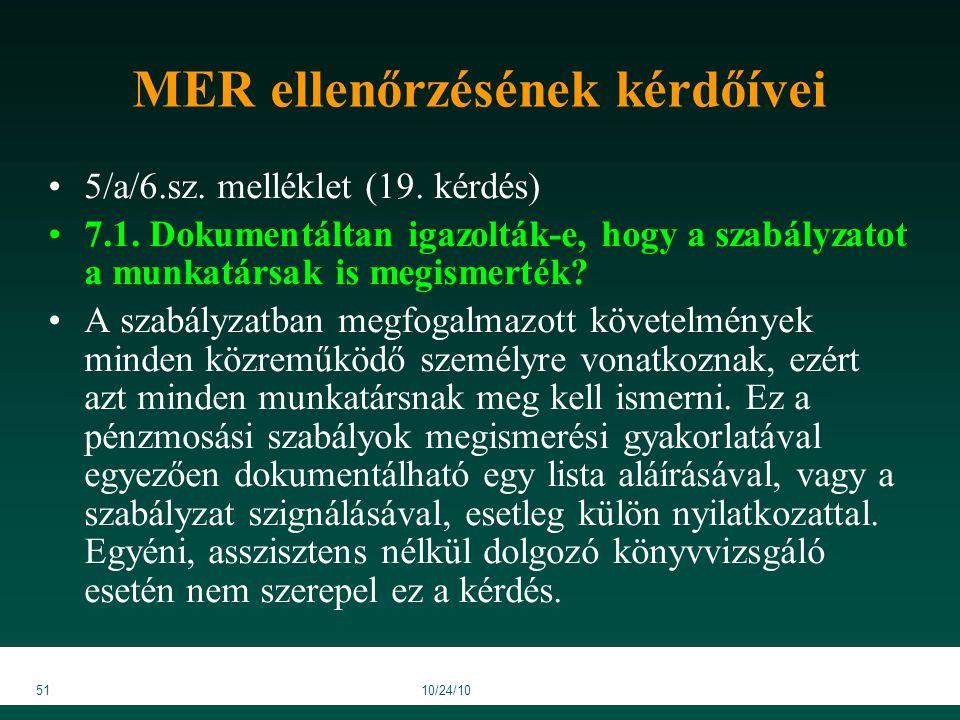 5110/24/10 MER ellenőrzésének kérdőívei 5/a/6.sz. melléklet (19.