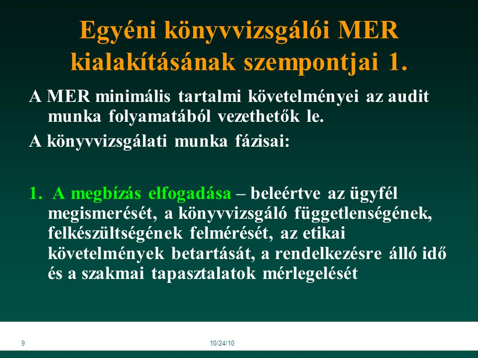 910/24/10 Egyéni könyvvizsgálói MER kialakításának szempontjai 1.
