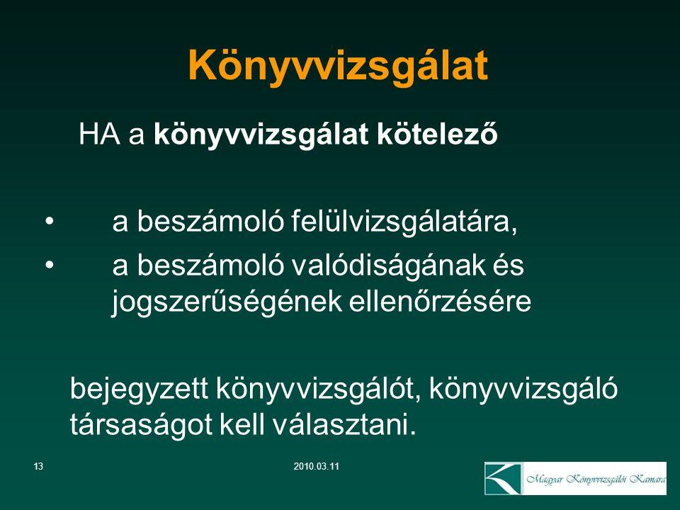 13 Könyvvizsgálat 2010.03.11 HA a könyvvizsgálat kötelező a beszámoló felülvizsgálatára, a beszámoló valódiságának és jogszerűségének ellenőrzésére be