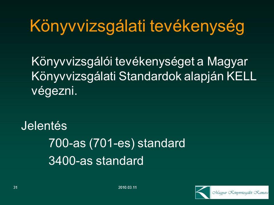 312010.03.11 Könyvvizsgálati tevékenység Könyvvizsgálói tevékenységet a Magyar Könyvvizsgálati Standardok alapján KELL végezni. Jelentés 700-as (701-e