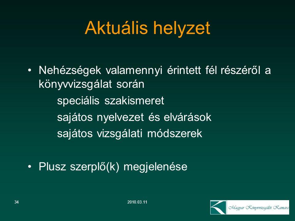 342010.03.11 Aktuális helyzet Nehézségek valamennyi érintett fél részéről a könyvvizsgálat során speciális szakismeret sajátos nyelvezet és elvárások