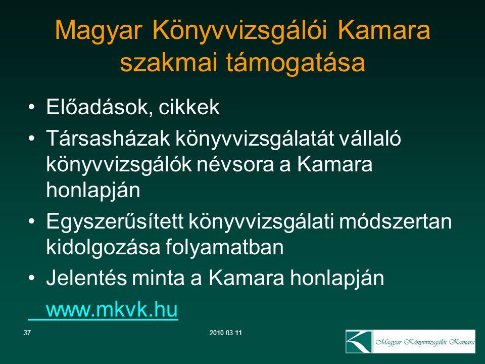 372010.03.11 Magyar Könyvvizsgálói Kamara szakmai támogatása Előadások, cikkek Társasházak könyvvizsgálatát vállaló könyvvizsgálók névsora a Kamara ho