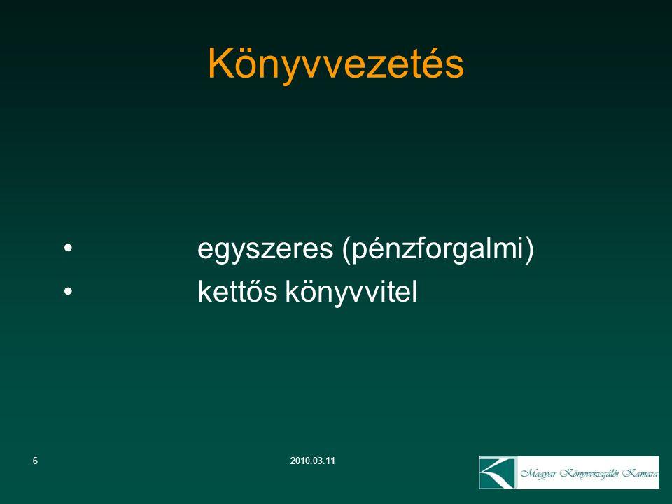 62010.03.11 Könyvvezetés egyszeres (pénzforgalmi) kettős könyvvitel