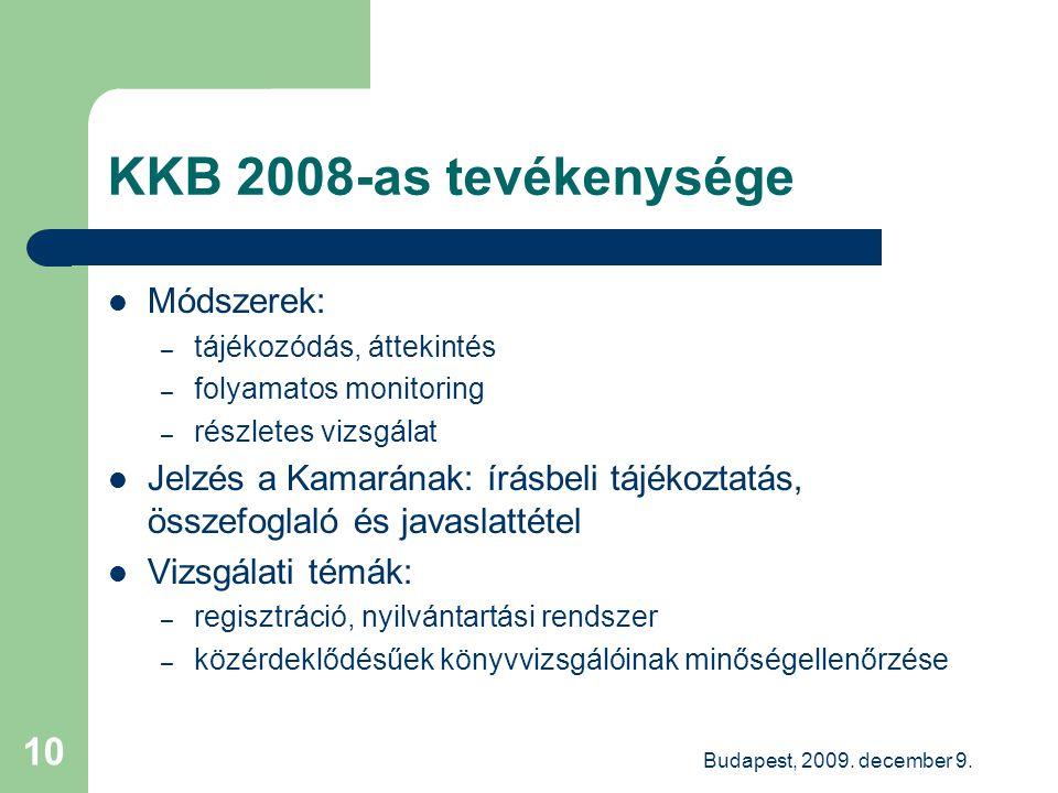 Budapest, 2009. december 9. 10 KKB 2008-as tevékenysége Módszerek: – tájékozódás, áttekintés – folyamatos monitoring – részletes vizsgálat Jelzés a Ka
