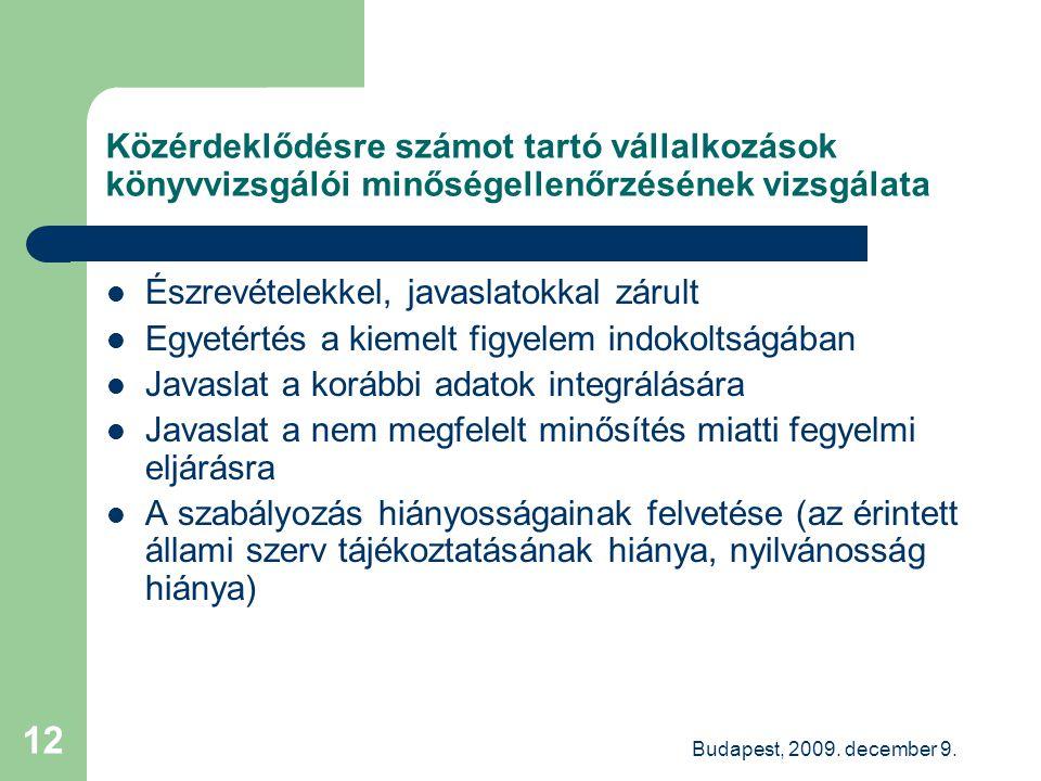 Budapest, 2009. december 9. 12 Közérdeklődésre számot tartó vállalkozások könyvvizsgálói minőségellenőrzésének vizsgálata Észrevételekkel, javaslatokk