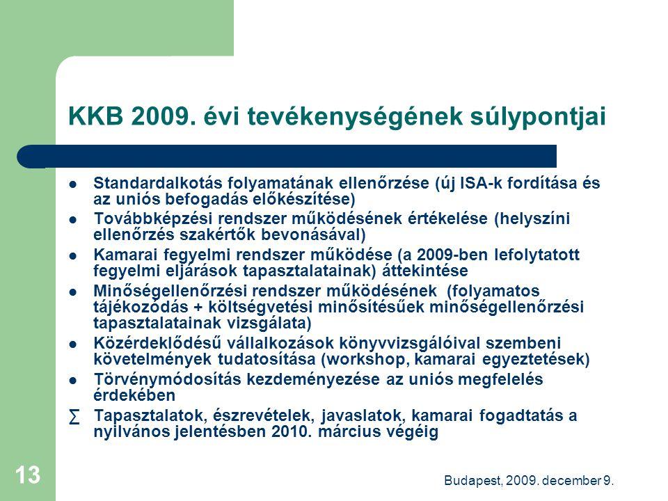 Budapest, 2009. december 9. 13 KKB 2009. évi tevékenységének súlypontjai Standardalkotás folyamatának ellenőrzése (új ISA-k fordítása és az uniós befo