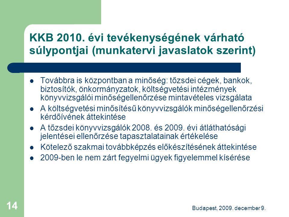 Budapest, 2009. december 9. 14 KKB 2010. évi tevékenységének várható súlypontjai (munkatervi javaslatok szerint) Továbbra is központban a minőség: tőz