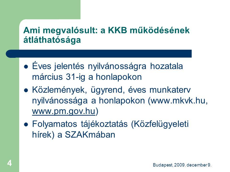 Budapest, 2009. december 9. 4 Ami megvalósult: a KKB működésének átláthatósága Éves jelentés nyilvánosságra hozatala március 31-ig a honlapokon Közlem