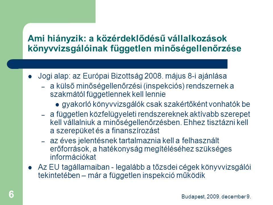 Budapest, 2009. december 9. 6 Ami hiányzik: a közérdeklődésű vállalkozások könyvvizsgálóinak független minőségellenőrzése Jogi alap: az Európai Bizott