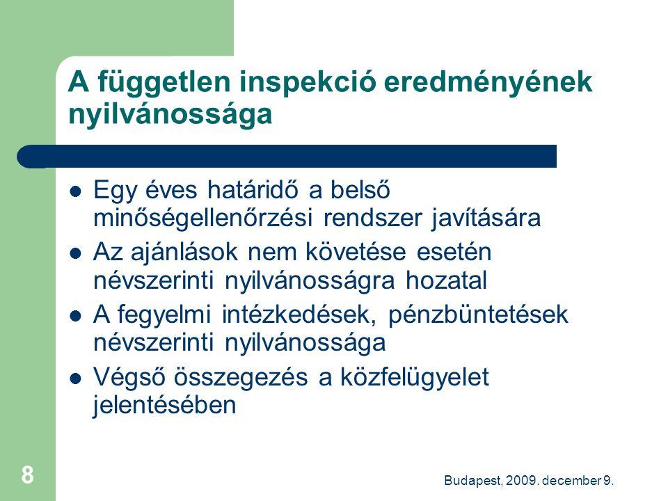 Budapest, 2009. december 9. 8 A független inspekció eredményének nyilvánossága Egy éves határidő a belső minőségellenőrzési rendszer javítására Az ajá
