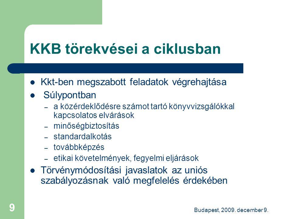 Budapest, 2009. december 9. 9 KKB törekvései a ciklusban Kkt-ben megszabott feladatok végrehajtása Súlypontban – a közérdeklődésre számot tartó könyvv