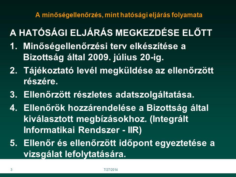 A minőségellenőrzés, mint hatósági eljárás folyamata A HATÓSÁGI ELJÁRÁS MEGKEZDÉSE ELŐTT 1.Minőségellenőrzési terv elkészítése a Bizottság által 2009.