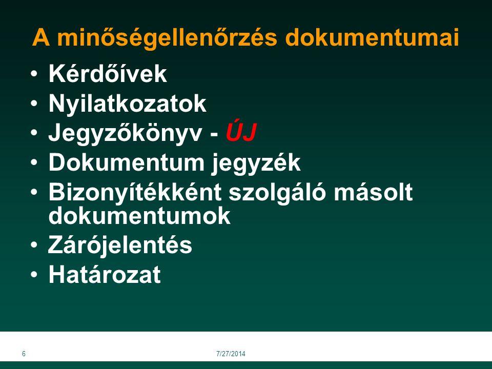 Kérdőívek Nyilatkozatok Jegyzőkönyv - ÚJ Dokumentum jegyzék Bizonyítékként szolgáló másolt dokumentumok Zárójelentés Határozat 67/27/2014 A minőségell