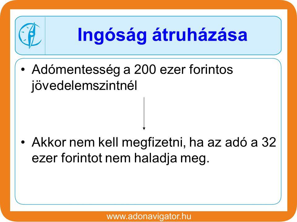 Adómentesség a 200 ezer forintos jövedelemszintnél Akkor nem kell megfizetni, ha az adó a 32 ezer forintot nem haladja meg.