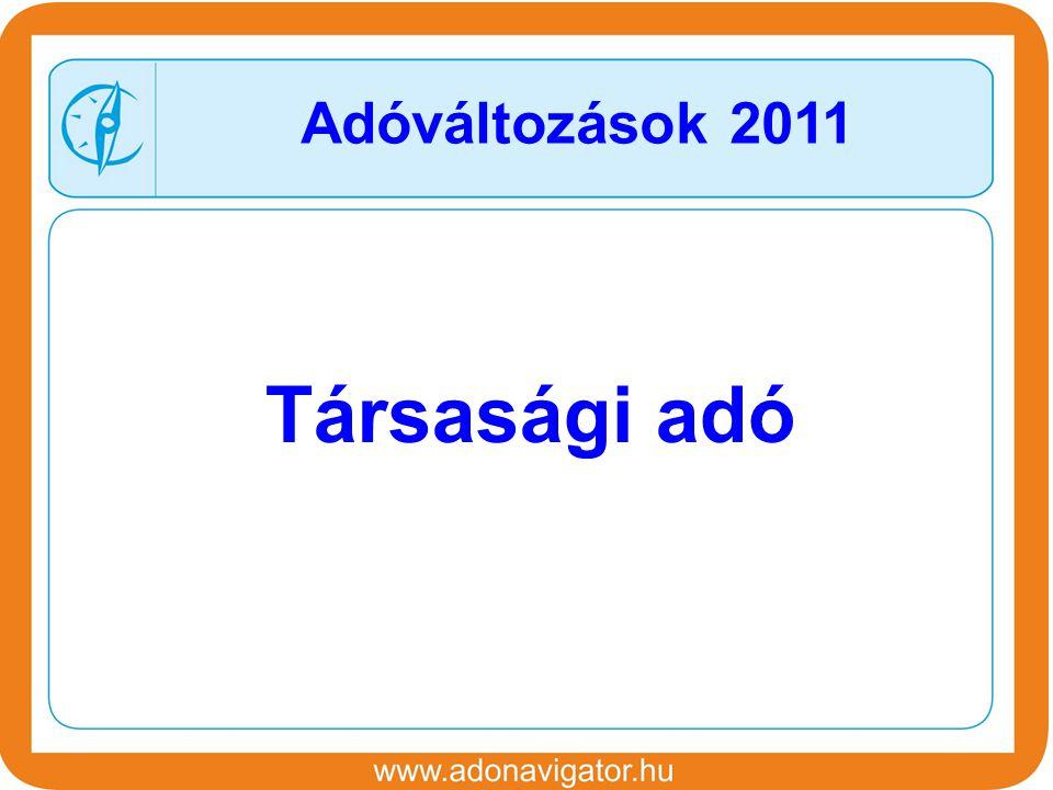 Társasági adó Adóváltozások 2011