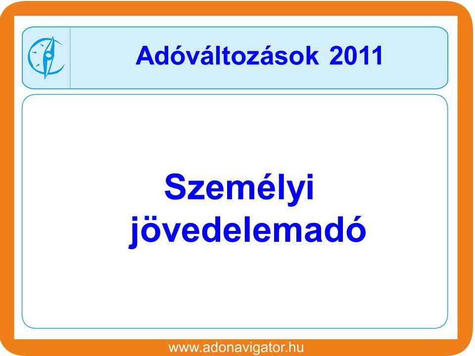 Személyi jövedelemadó Adóváltozások 2011