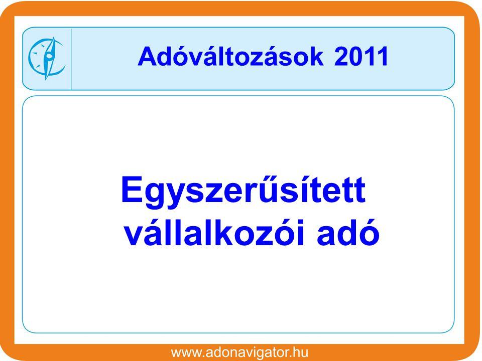 Egyszerűsített vállalkozói adó Adóváltozások 2011