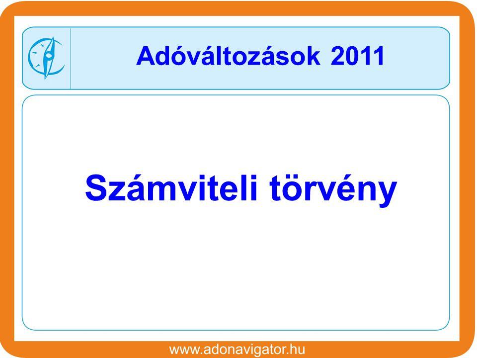 Számviteli törvény Adóváltozások 2011