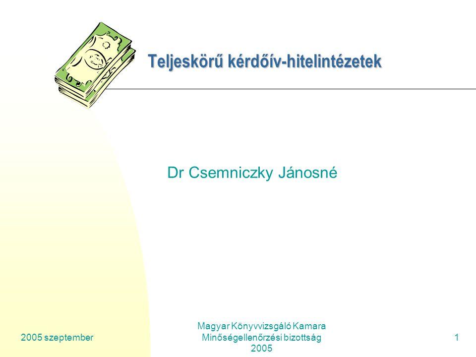 2005 szeptember Magyar Könyvvizsgáló Kamara Minőségellenőrzési bizottság 2005 2 Teljeskörű kérdőív- H itelintézetek Az előadás tematikája: 1.Teljeskörű vizsgálat tartalma 2.Az egyes megbízásokra vonatkozó kérdések fő témái a standardokkal összefüggésben 3.Közérdeklődésnek kitett vállalkozások – hitelintézetek speciális kérdései.