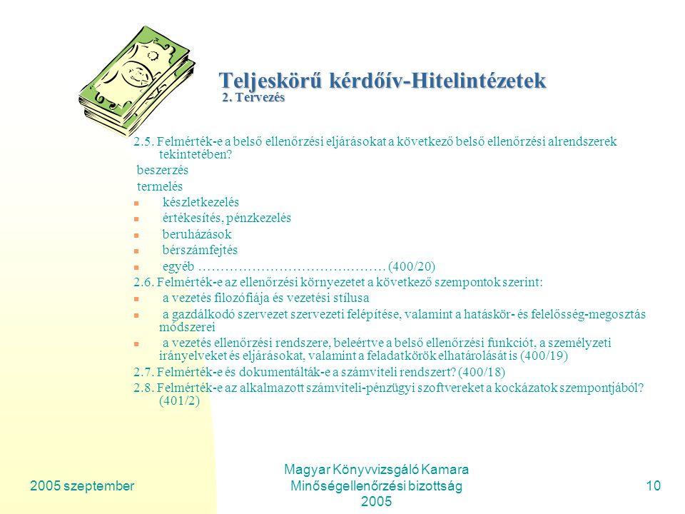 2005 szeptember Magyar Könyvvizsgáló Kamara Minőségellenőrzési bizottság 2005 10 Teljeskörű kérdőív-Hitelintézetek 2.
