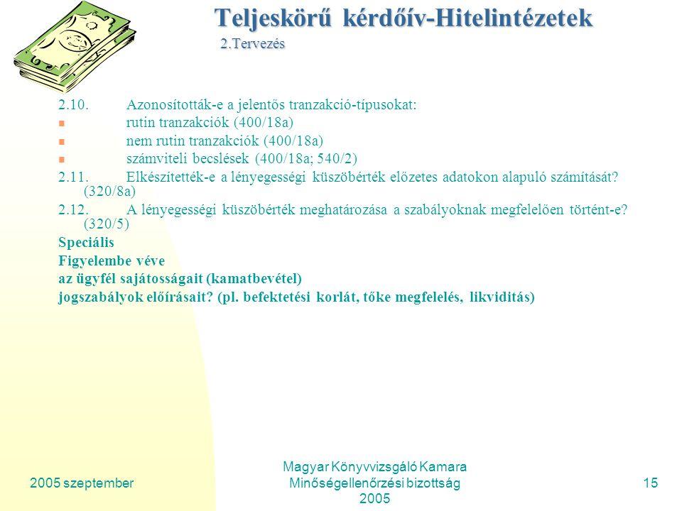2005 szeptember Magyar Könyvvizsgáló Kamara Minőségellenőrzési bizottság 2005 15 Teljeskörű kérdőív-Hitelintézetek 2.Tervezés 2.10.Azonosították-e a jelentős tranzakció-típusokat: rutin tranzakciók (400/18a) nem rutin tranzakciók (400/18a) számviteli becslések (400/18a; 540/2) 2.11.Elkészítették-e a lényegességi küszöbérték előzetes adatokon alapuló számítását.