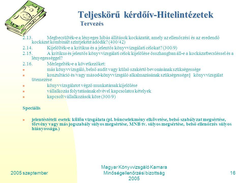 2005 szeptember Magyar Könyvvizsgáló Kamara Minőségellenőrzési bizottság 2005 16 Teljeskörű kérdőív-Hitelintézetek Tervezés 2.13.Megbecsülték-e a lényeges hibás állítások kockázatát, amely az ellenőrzési és az eredendő kockázat kombinált szintjeként adódik.