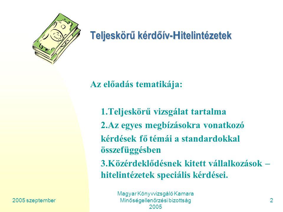 2005 szeptember Magyar Könyvvizsgáló Kamara Minőségellenőrzési bizottság 2005 33 Teljeskörű kérdőív-Hitelintézetek 5.Jelentéskészítés Könyvvizsgálói záradék (vélemény), a vizsgált beszámoló azonosításával Dátum Könyvvizsgáló neve, kamarai bejegyzési száma és aláírása Könyvvizsgáló cég neve, kamarai nyilvántartási száma, cégszerű aláírása (700/5) 5.3.Tartalmazza-e a jelentés a szükséges figyelemfelhívó megjegyzéseket, és nem tartalmaz ez szükségtelen részeket.