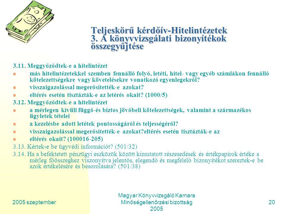 2005 szeptember Magyar Könyvvizsgáló Kamara Minőségellenőrzési bizottság 2005 20 Teljeskörű kérdőív-Hitelintézetek 3.