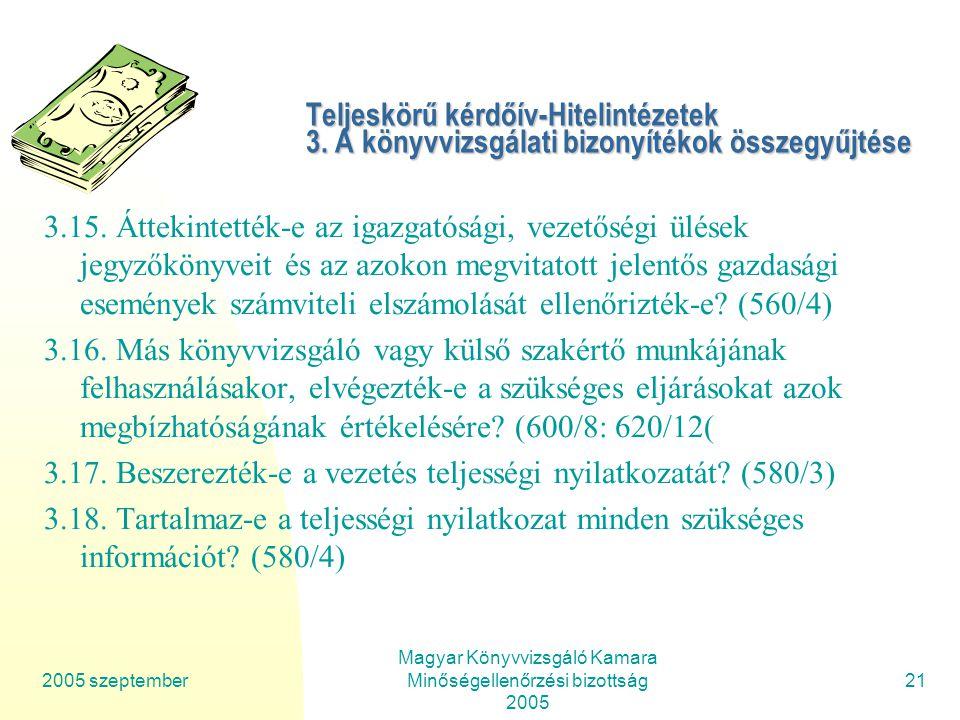 2005 szeptember Magyar Könyvvizsgáló Kamara Minőségellenőrzési bizottság 2005 21 Teljeskörű kérdőív-Hitelintézetek 3.
