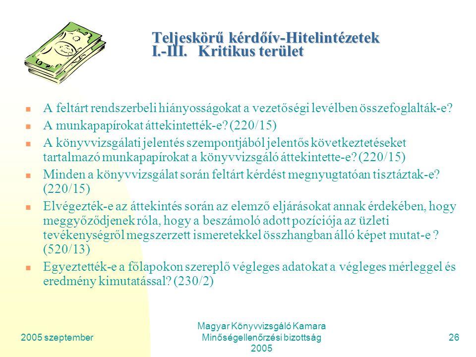 2005 szeptember Magyar Könyvvizsgáló Kamara Minőségellenőrzési bizottság 2005 26 Teljeskörű kérdőív-Hitelintézetek I.-III.