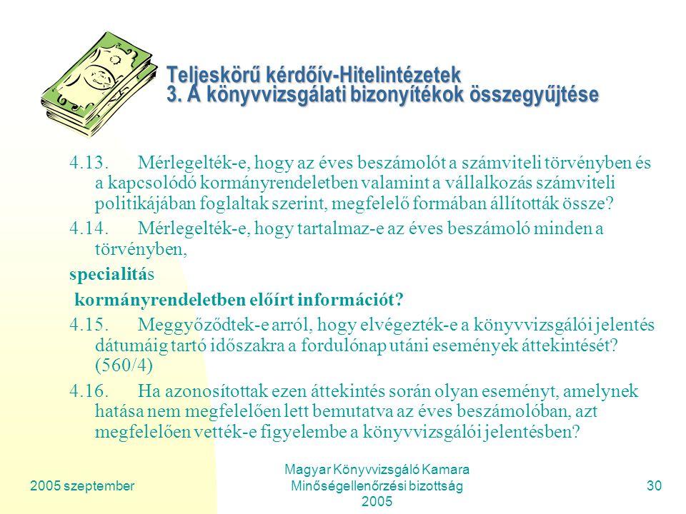 2005 szeptember Magyar Könyvvizsgáló Kamara Minőségellenőrzési bizottság 2005 30 Teljeskörű kérdőív-Hitelintézetek 3.