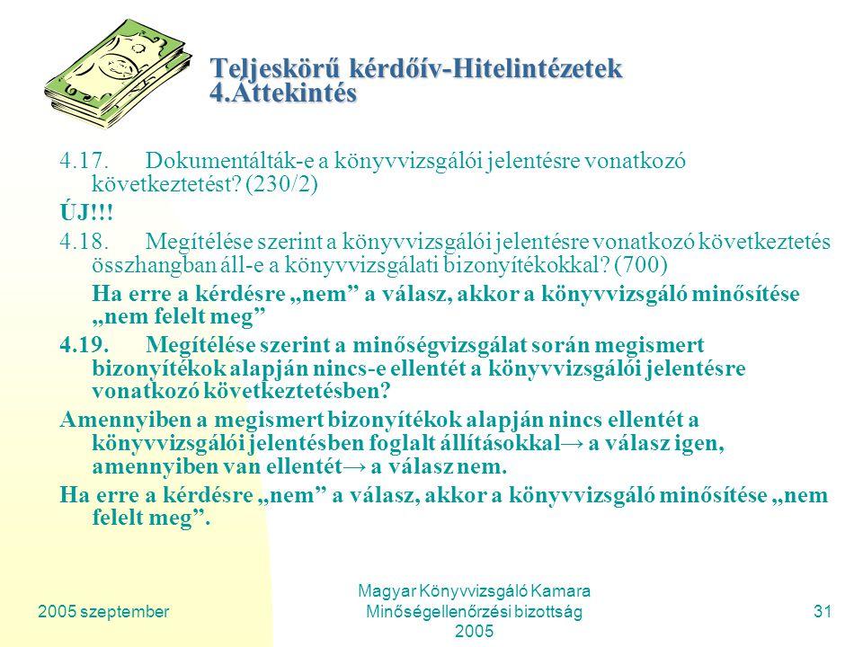 2005 szeptember Magyar Könyvvizsgáló Kamara Minőségellenőrzési bizottság 2005 31 Teljeskörű kérdőív-Hitelintézetek 4.Áttekintés 4.17.