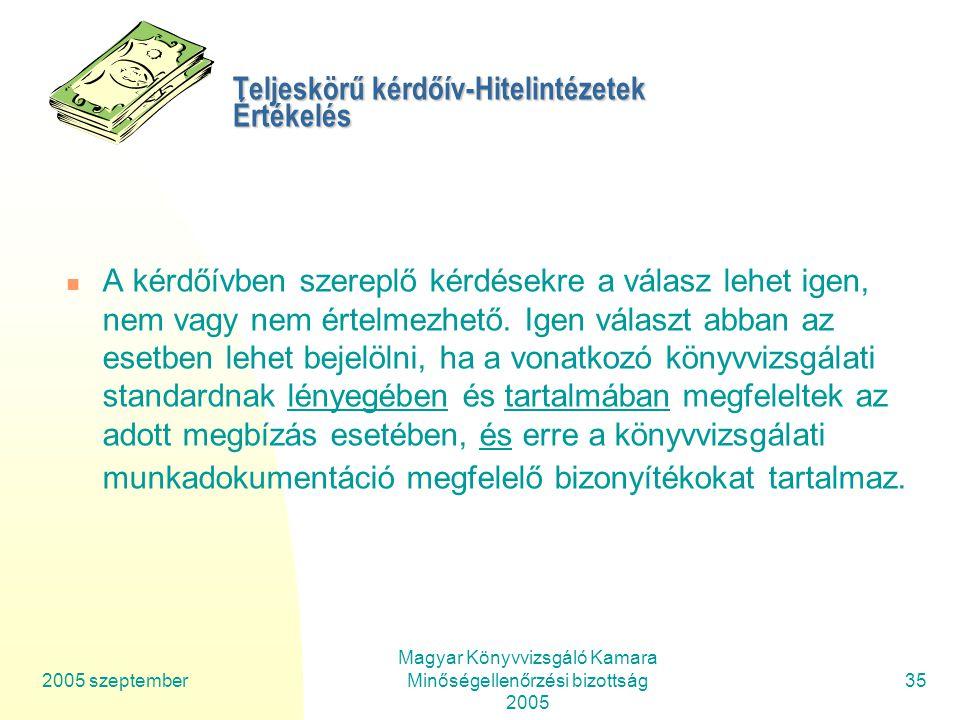 2005 szeptember Magyar Könyvvizsgáló Kamara Minőségellenőrzési bizottság 2005 35 Teljeskörű kérdőív-Hitelintézetek Értékelés A kérdőívben szereplő kérdésekre a válasz lehet igen, nem vagy nem értelmezhető.
