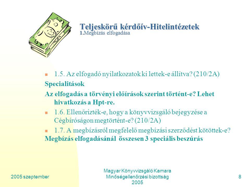 2005 szeptember Magyar Könyvvizsgáló Kamara Minőségellenőrzési bizottság 2005 29 Teljeskörű kérdőív-Hitelintézetek 3.