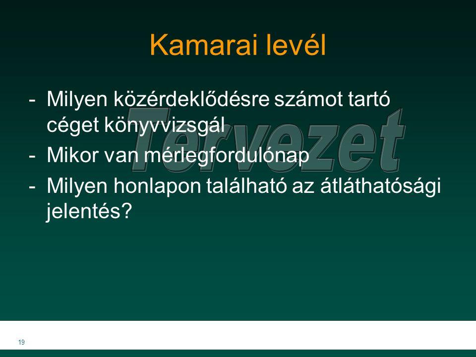 19 Kamarai levél -Milyen közérdeklődésre számot tartó céget könyvvizsgál -Mikor van mérlegfordulónap -Milyen honlapon található az átláthatósági jelentés?