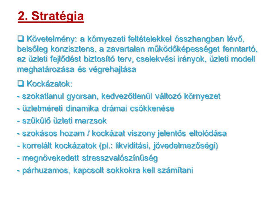 2. Stratégia  Követelmény: a környezeti feltételekkel összhangban lévő, belsőleg konzisztens, a zavartalan működőképességet fenntartó, az üzleti fejl