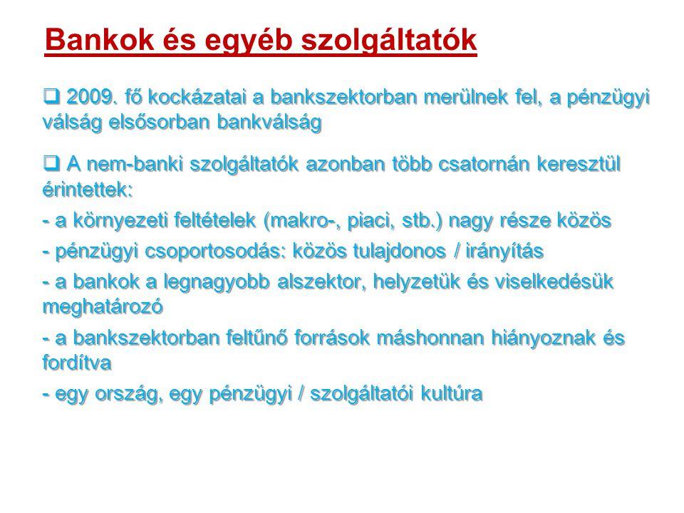 Bankok és egyéb szolgáltatók  2009.