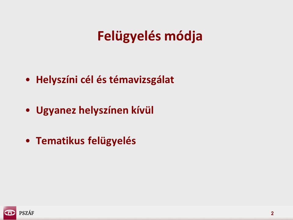 2 Felügyelés módja Helyszíni cél és témavizsgálat Ugyanez helyszínen kívül Tematikus felügyelés