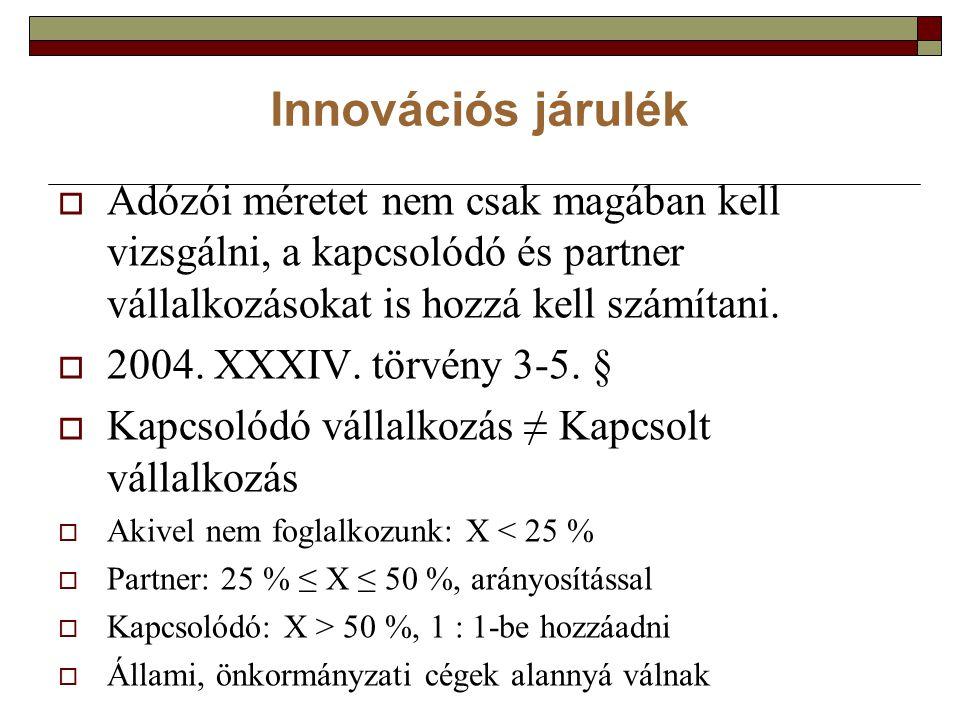 Innovációs járulék  Adózói méretet nem csak magában kell vizsgálni, a kapcsolódó és partner vállalkozásokat is hozzá kell számítani.