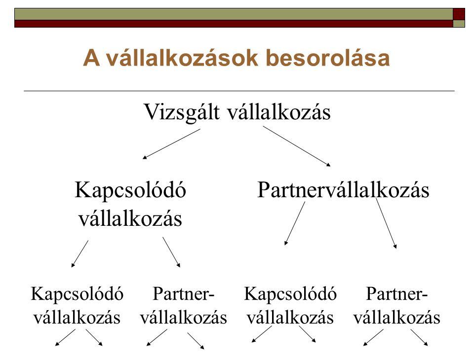 A vállalkozások besorolása Vizsgált vállalkozás Kapcsolódó vállalkozás Partnervállalkozás Kapcsolódó vállalkozás Partner- vállalkozás Kapcsolódó vállalkozás Partner- vállalkozás
