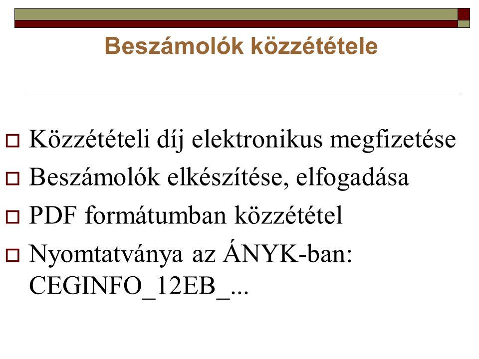 Beszámolók közzététele  Közzétételi díj elektronikus megfizetése  Beszámolók elkészítése, elfogadása  PDF formátumban közzététel  Nyomtatványa az ÁNYK-ban: CEGINFO_12EB_...
