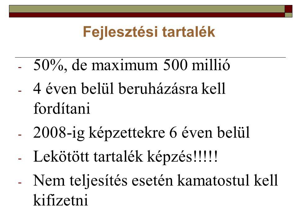 Fejlesztési tartalék - 50%, de maximum 500 millió - 4 éven belül beruházásra kell fordítani - 2008-ig képzettekre 6 éven belül - Lekötött tartalék képzés!!!!.