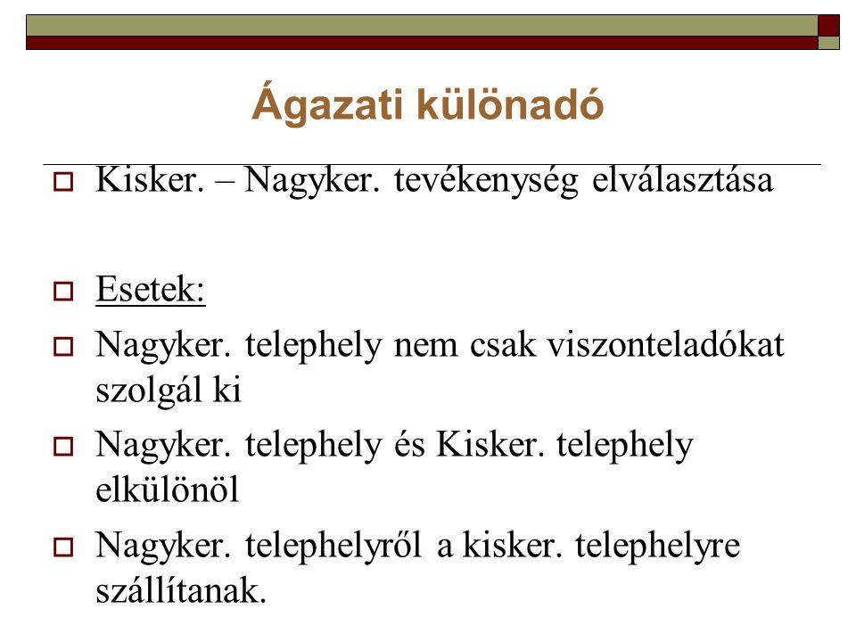 Ágazati különadó  Kisker. – Nagyker. tevékenység elválasztása  Esetek:  Nagyker.