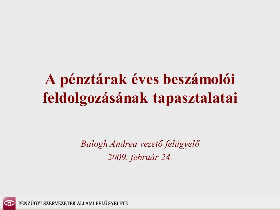 A pénztárak éves beszámolói feldolgozásának tapasztalatai Balogh Andrea vezető felügyelő 2009.