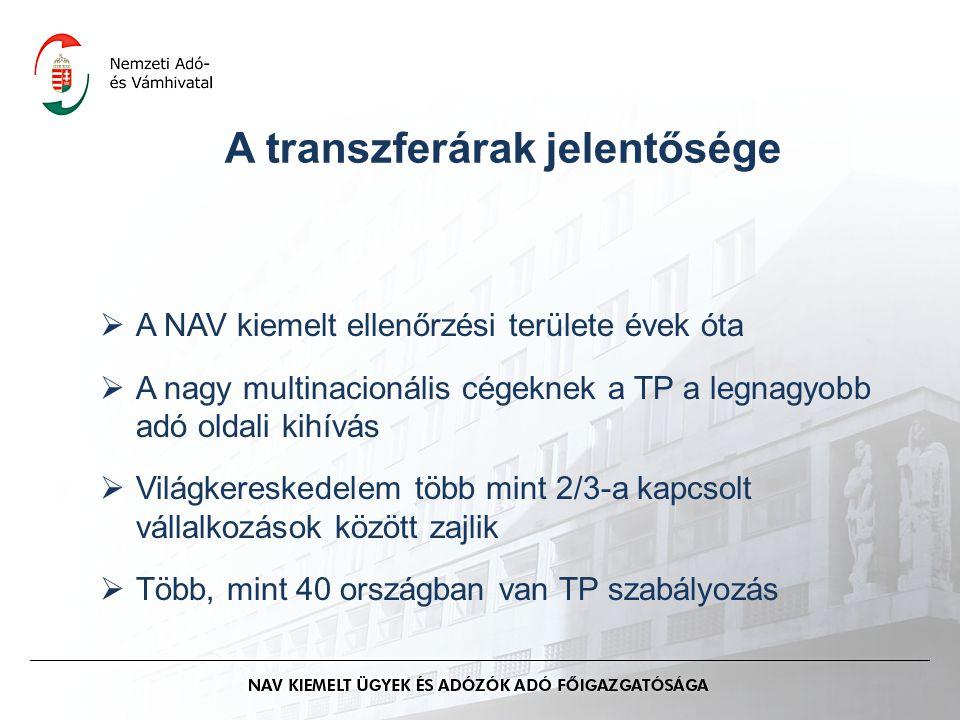 A transzferárak jelentősége  A NAV kiemelt ellenőrzési területe évek óta  A nagy multinacionális cégeknek a TP a legnagyobb adó oldali kihívás  Világkereskedelem több mint 2/3-a kapcsolt vállalkozások között zajlik  Több, mint 40 országban van TP szabályozás