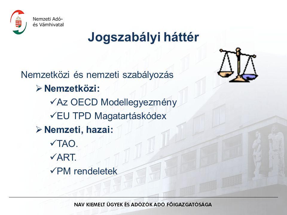 Jogszabályi háttér Nemzetközi és nemzeti szabályozás  Nemzetközi: Az OECD Modellegyezmény EU TPD Magatartáskódex  Nemzeti, hazai: TAO. ART. PM rende