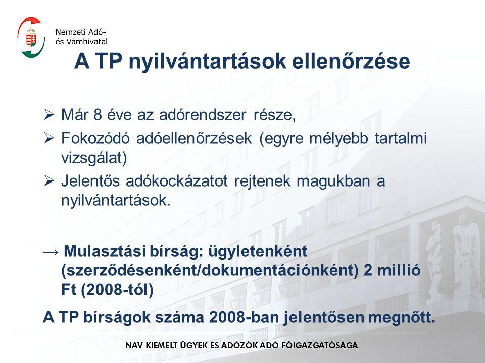 A TP nyilvántartások ellenőrzése  Már 8 éve az adórendszer része,  Fokozódó adóellenőrzések (egyre mélyebb tartalmi vizsgálat)  Jelentős adókockáza